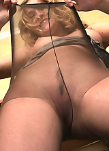 Frisky chick flashing upskirt and pulling up her stretchy control top hose